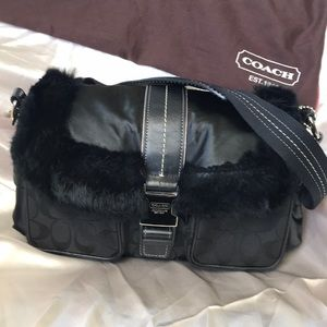Coach rabbit fur handbag